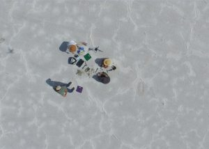 Aerial view Bowen research team on Bonneville Salt Flats
